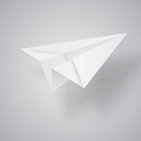 Illustration of origami paper airplane on white background. Vettoriali