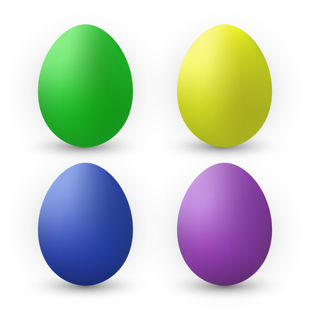 Color Eggs Collection With Gradient Mesh, design template, Vector Illustration.