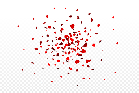 Vector realistic isolated heart confetti on the transparent background for decoration and covering. Concept of Happy Valentines Day, wedding and anniversary.