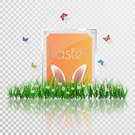 Happy Easter. Vector Easter eggs with grass, butterfly and flowers, isolated on a transperent background.
