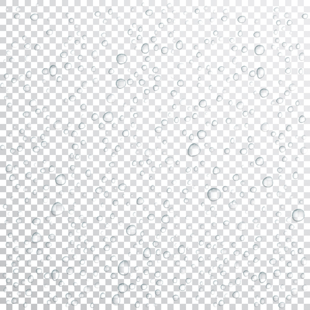 A Vector Water drops on glass. Rain drops on transparent background.