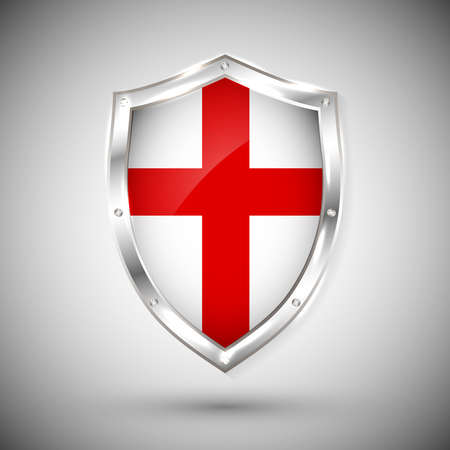 England flag on metal shiny shield vector illustration. Vectores