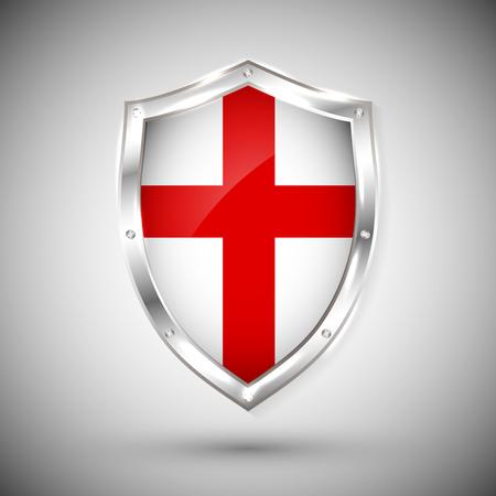 England flag on metal shiny shield vector illustration. Stock Illustratie
