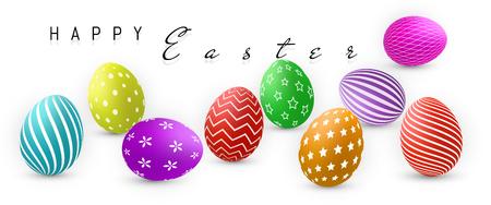 Buona Pasqua, raccolta delle uova di colore con la maglia di pendenza, modello di progettazione, illustrazione di vettore. Archivio Fotografico - 97017029