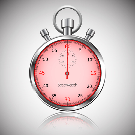 60 seconds. Silver realistic stopwatch with reflection. Vector. Illustration
