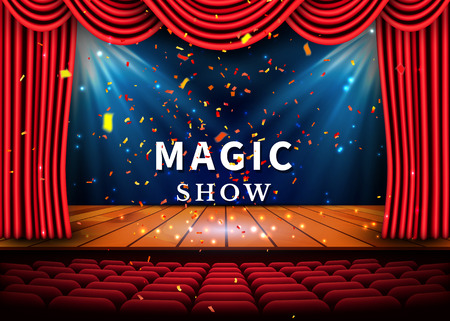 A theater stage with a red curtain and a spotlight and wooden floor. Magic Show poster. Vector.