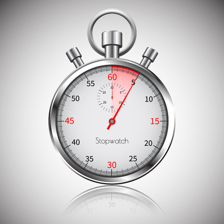 5 seconds. Silver realistic stopwatch with reflection. Vector. Ilustração