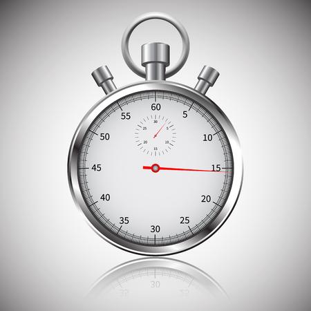 Classic chrome stopwatch. 矢量图像