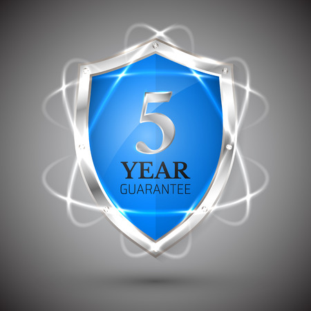 Shield with a guarantee 5 year icon.