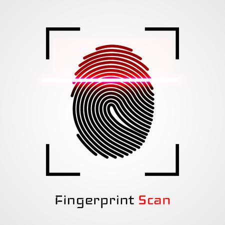 Finger-print Scanning Identification System. Illustration