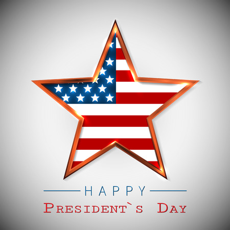 Happy Presidents Day greeting card with star of USA. Illustration