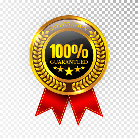 100 percent Satisfaction Guaranteed Golden Medal Label Stock fotó - 97116897