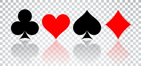 Set of hearts, spades, clubs and diamonds with reflection on transparent background. Иллюстрация