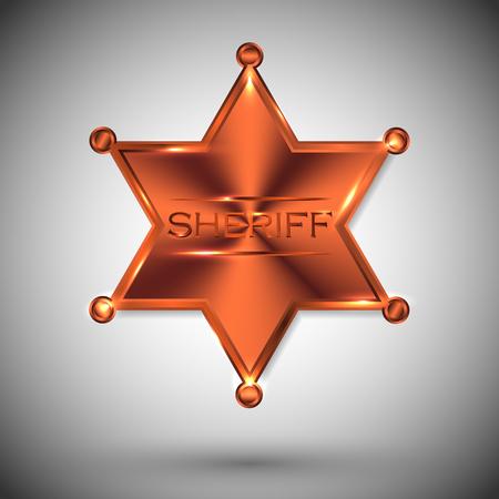 Vector metal sheriff star isolated on gray background. Illusztráció