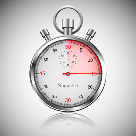 15 seconds. Silver realistic stopwatch with reflection. Vector.
