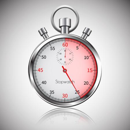 25 seconds. Silver realistic stopwatch with reflection. Vector. Vektorové ilustrace