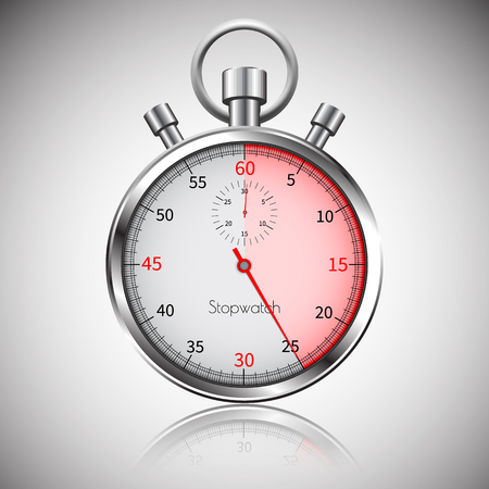 25 seconds. Silver realistic stopwatch with reflection. Vector.