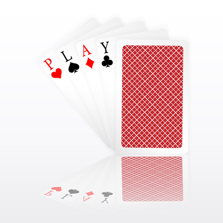 Play word aces poker hand fly and one closed playing cards suits. Illustration