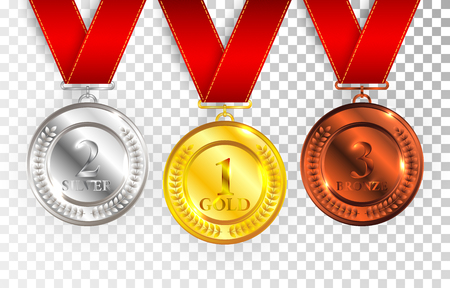 Set of gold, silver and bronze award medals with red ribbons. Stock Illustratie