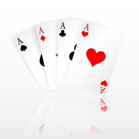 Set of four aces playing cards suits.