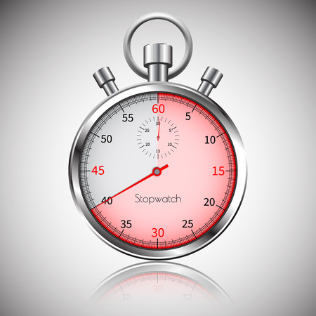 40 seconds. Silver realistic stopwatch with reflection. Vector.