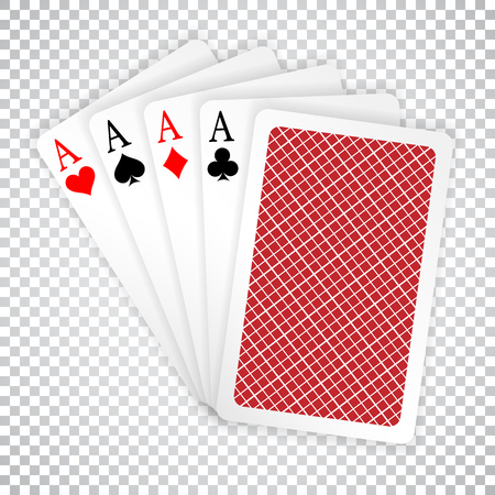 Four aces in five card poker hand playing cards with back design. Иллюстрация