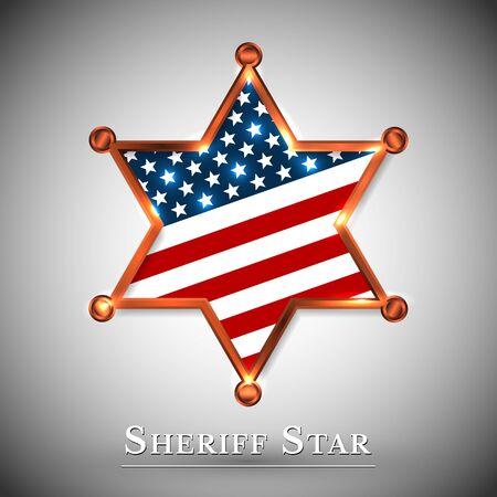 Sheriff badge greeting card with star of USA. Vektoros illusztráció