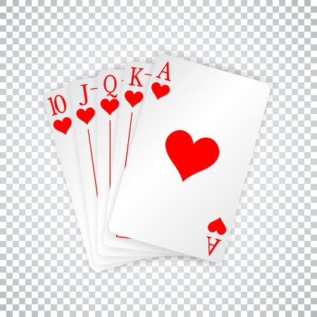 A royal straight flush playing cards poker hand in hearts.