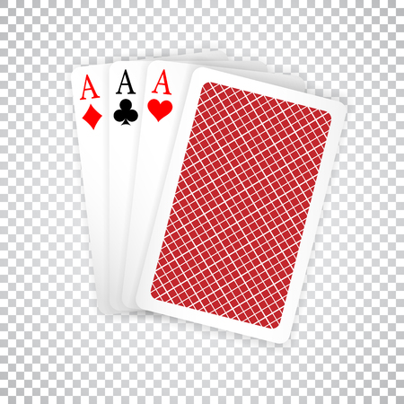 Set of three aces and one closed playing cards suits. Winning poker hand.