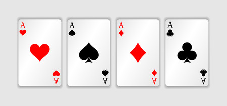 Set of four aces playing cards suits. Winning poker hand.