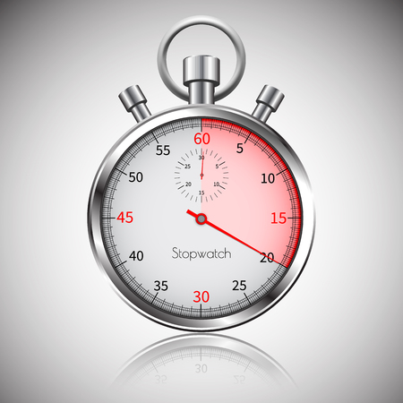 20 seconds. Silver realistic stopwatch with reflection. Vector.