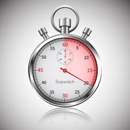 20 segundos Cronómetro realista plateado con reflejo. Vector.