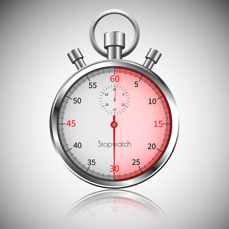 30 seconds. Silver realistic stopwatch with reflection. Vector. Illustration