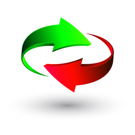 Green and red 3d arrows, vector. Illustration