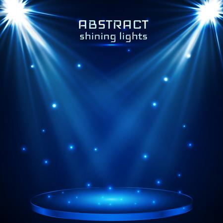 stage spot lighting. magic light. blue vector background,