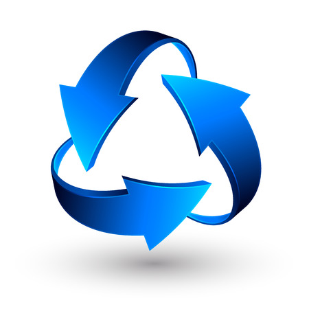 Blue recycle arrows, recycle simbol, vector. Illustration