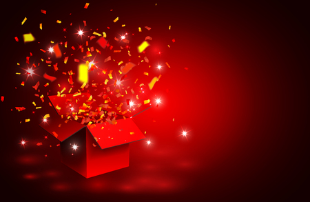 Open red Gift Box and Confetti. Vector Illustration.