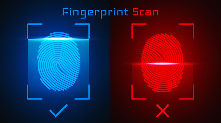 Electronic fingerprint scan. Passed and not passed authorization.