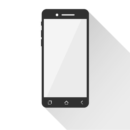 Flat phone icon with long shadow. Vector.