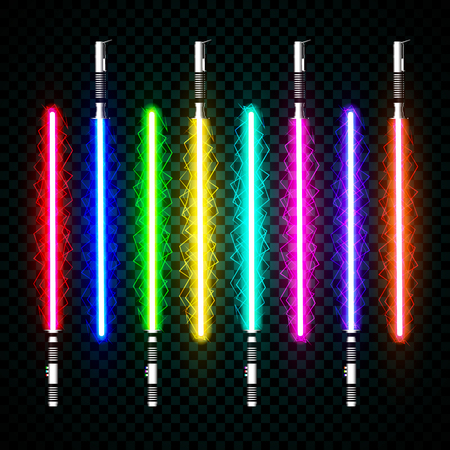 A neon light swords. crossed light, flash and sparkles. Vector illustration isolated on transparent background. Vettoriali