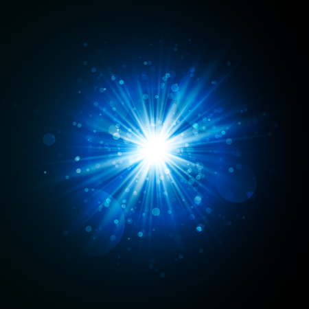 Star burst with sparkles. Light effect. Blue glitter texture.