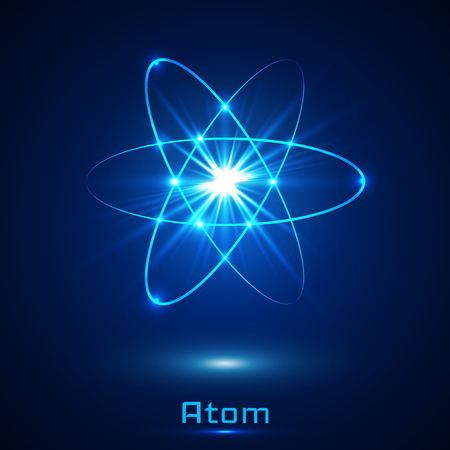 A Vector shining neon lights atom model.
