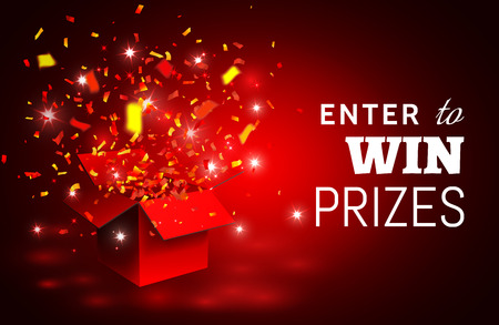 Open Red Gift Box and Confetti. Enter to Win Prizes. Vector Illustration.