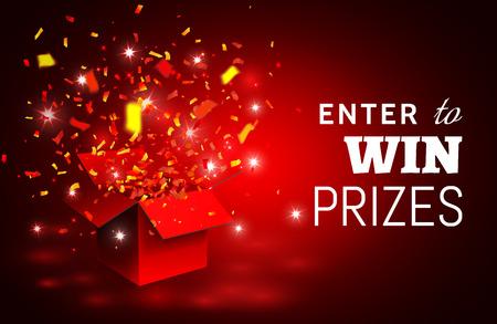 Apri confezione regalo e coriandoli rossi. Partecipa per vincere i premi. Illustrazione vettoriale