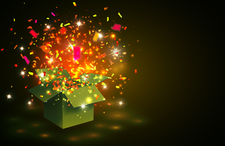 Open yellow Gift Box and  color Confetti on yellow background. Vector Illustration.