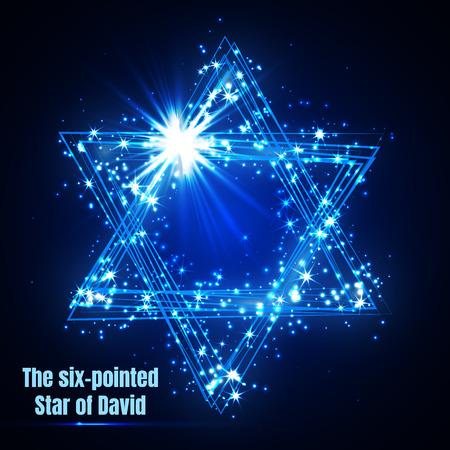La stella di David a sei punte, splendente stella magica blu vettoriale. Vettoriali