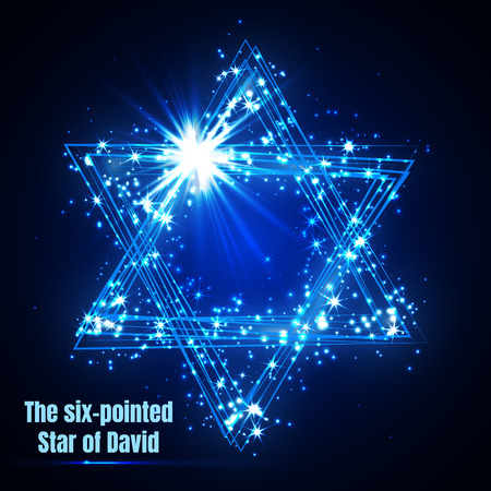 The six-pointed Star of David, shining blue magic vector star. Иллюстрация