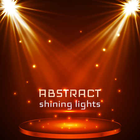 stage spot lighting. magic light. orange vector background.