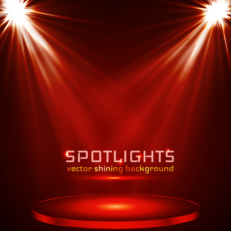 stage spot lighting. magic light. red vector background, Vectores