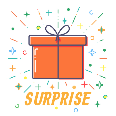 Surprise Flat Gift boxes vector. 일러스트